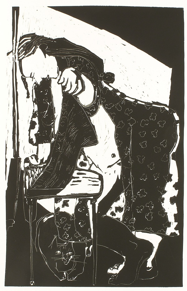 Reading the Observer , 2008 Linocut 24 x 37 inches