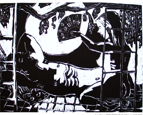 Moon and Fan , 2005 Linocut 20 x 30 inches