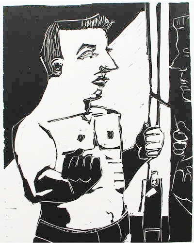 Robert's Gym (left) , 2005 Linocut 22 x 28 inches