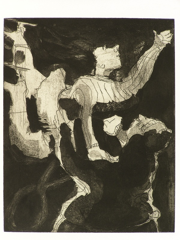Skaters , 2009 Etching and aquatint 8 x 10 inches