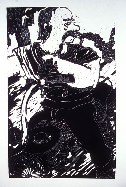 Smoking , 2007 Linocut 23 x 36 inches