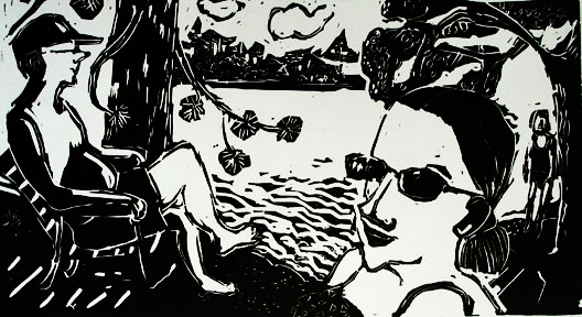 Toby Pond , 2002 Linocut 36 x 16 inches