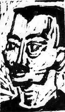 Walter , 2001 Linoleum print 8 x 10 inches