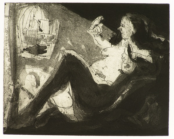 Woman with Birds , 2009 Etching and aquatint 10 x 8 inches