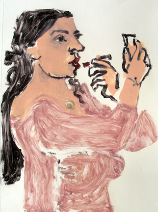Lipstick and Mirror , 2007 Monoprint 30 x 42 inches