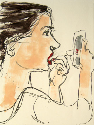 Putting on Lipstick , 2007 Monoprint 23 x 30 inches