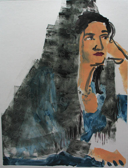 Ellen in Mantilla , 2005 Monoprint, 33 x 34 inches