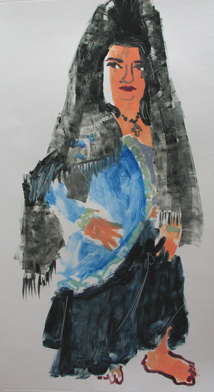 Ellen as Alba , 2005 Monoprint 33 x 34 inches