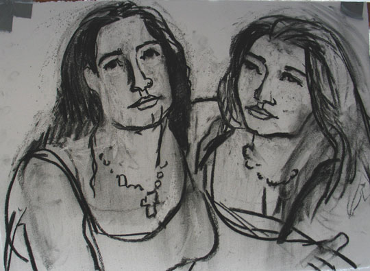Sisters , 2005 Charcoal 24 x 32 inches