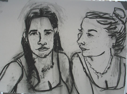 Sisters 2 , 2005 Charcoal 24 x 32 inches