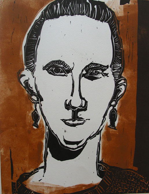 Self Portrait , 2004 Linocut 11 x 14 inches