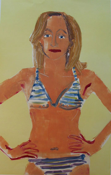 Swim Suit , 2003 Monoprint 30 x 42 inches