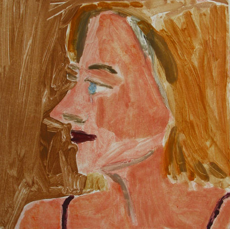 Blue eyes blond hair , 2003 Monoprint 15 x 15 inches