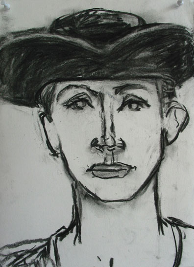 Three Cornered Hat , 2003 Charcoal 18 x 24 inches