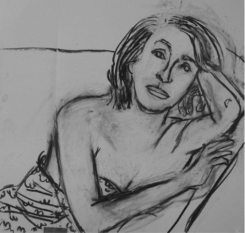 Sarong , 2003 Charcoal 30 x 42 inches