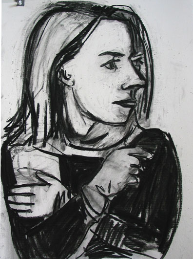 Leather Gloves , 2003 Charcoal 18 x 24 inches