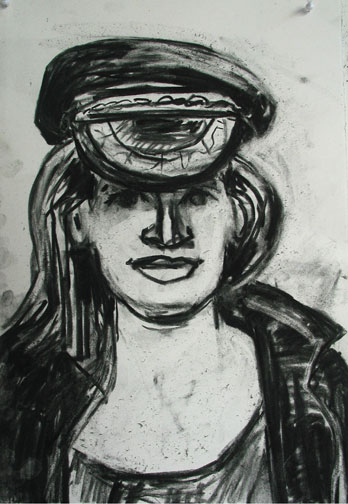 Greek Hat , 2003 Charcoal 15 x 22 inches