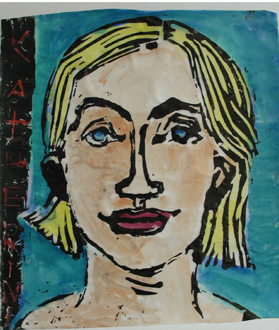 Blond Hair , 2002 Linocut/watercolor 13 x 10 inches