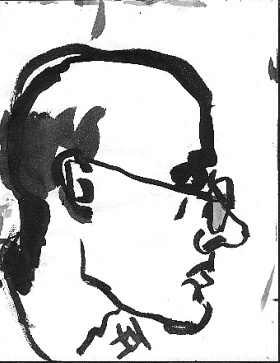 Tom (profile) , 2001 Ink on paper 8.5 x 11 inches
