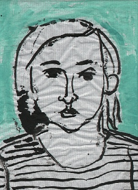 Staver with Striped Shirt , 2001 Ink, watercolor on paper 8.5 x 11 inches