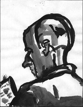 Reading Man , 2001 Ink on paper 8.5 x 11 inches