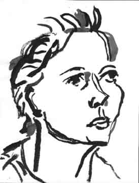 Leslie (profile) , 2001 Ink on paper 8.5 x 11 inches