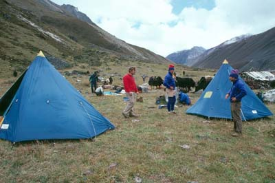 Bhutan Roskelley_Ridgeway, Tompkins and Chouinard at Gangar Punsuum base camp 1986.jpg