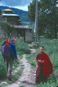 Bhutan Roskelley_Yvon and a young monk near Jakar, Bhutan 1986.jpg