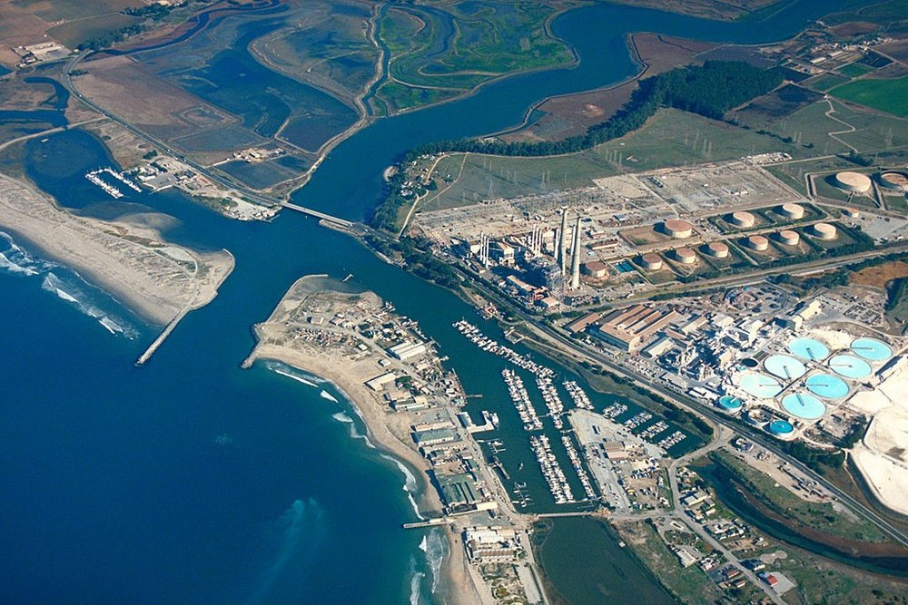 Aerial view of Moss Landing, Monterey County, California, USA.  U.S. Army Corps of Engineers, photographer not specified or unknown - U.S. Army Corps of Engineers Digital Visual Library.