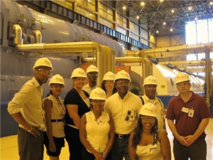 EHJ President Norris McDonald with tour group inside of generation building for Unit 3