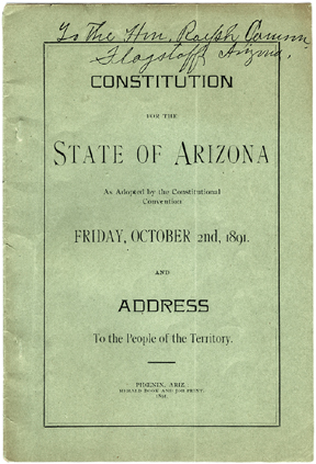 Front cover of the Arizona Constitution adopted in 1891
