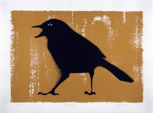 """Black Jay with Bright Gold Background"" silkscreen on paper - edition of 40 22"" x 30"""