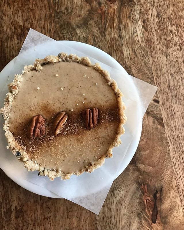 Hi everyone, Myranda here the in-house baker! Today we bid farewell to the lemon vegan tarts and are fully embracing fall with these chai spiced vegan cheesecakes! Which also happen to be gluten free! So come on down and snag one before they're gone!