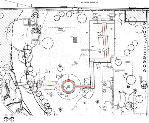 The City's 2016 plan for a walkway from the Brackenridge Park Bridge entrance to Miraflores to the gate at Hildebrand included one circular walkway around the reflecting pool. The walking path is indicated by the red line. The scales of this drawing and the sketch below are approximately equivalent. Photo courtesy of RVK Architects. Used with permission.