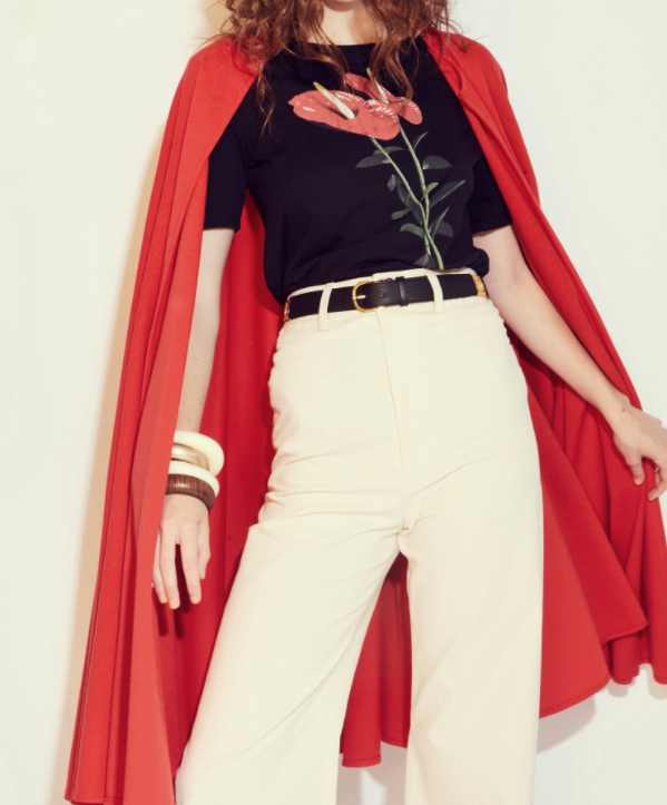 The power trio. Floral black t-shirt plus a high waisted white pant (red cape optional).