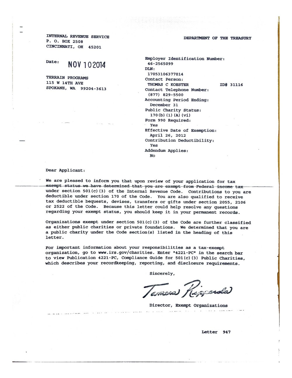 TERRAIN IRS determination letter.jpg