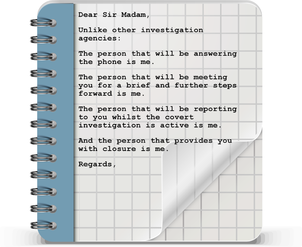 A note to the reader from the owner of  IBF Investigations