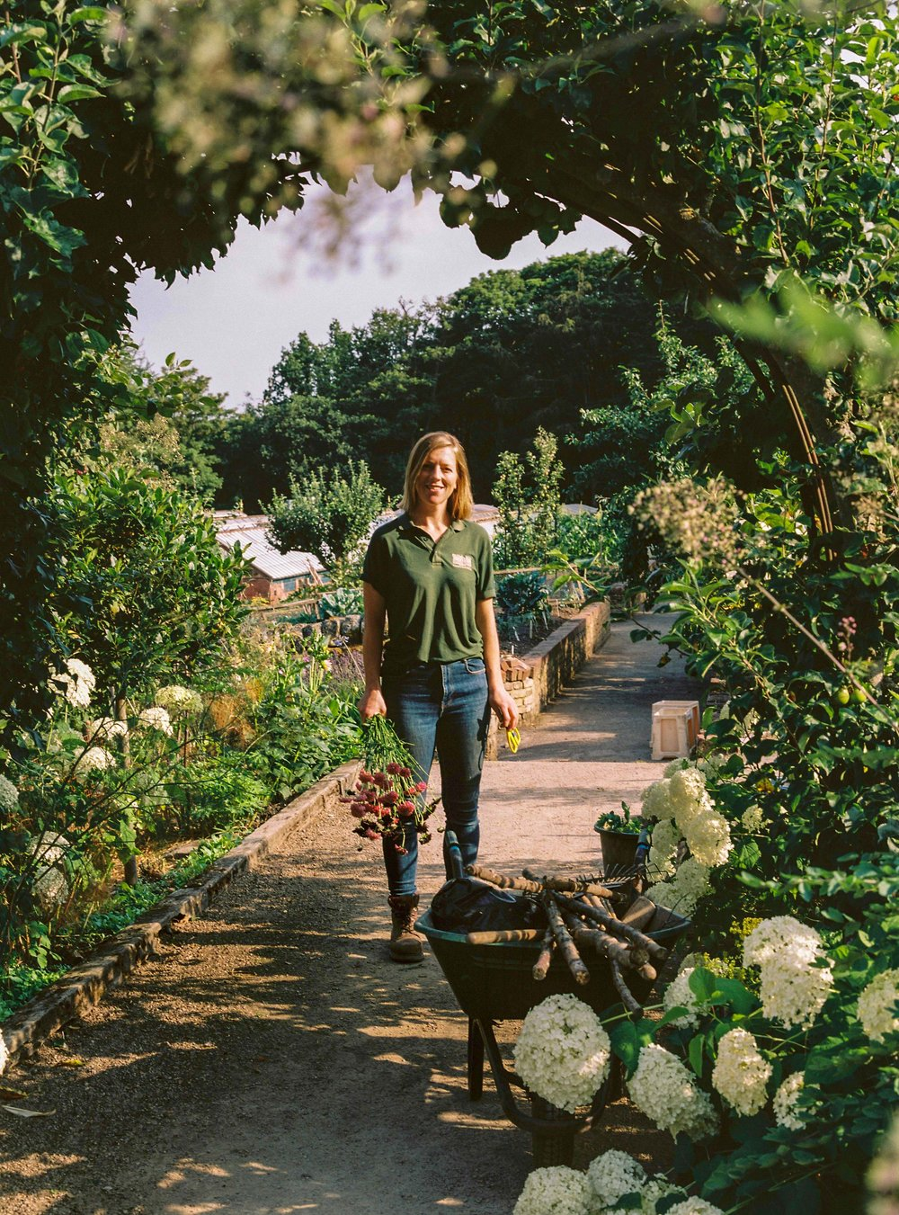 Becky Crowley photographed in the cutting garden at Chatsworth House.