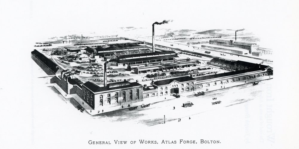 Atlas Works, Bolton, one of the last wrought ironworks in the country when it closed in the early 80's. This is a typical illustration of that era which greatly exaggerates the size of the place.