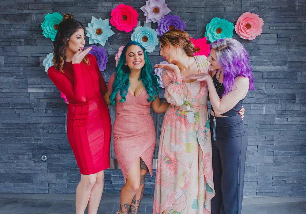 Paper Flower Backdrop by ALAAN STUDIOS  //  Wardrobe Styling + Apparel garments by   DAE & Night BOUTIQUE     Models (Left to Right: @MonaLotf, @NadineBerns, @LacedWithGraceInfo, @GracefullySassy