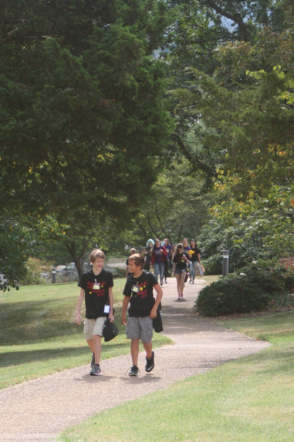 (CC) 2016 Atticus & Eli walk up the hill.JPG