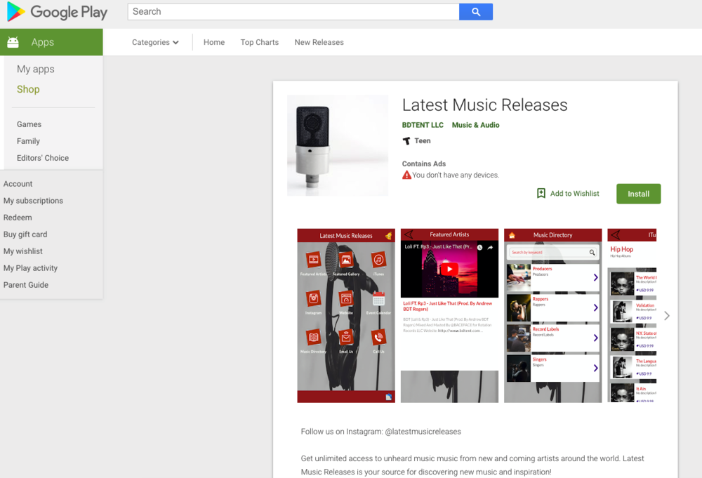 "Download The ""Latest Music Releases"" App Now On Google Play!"
