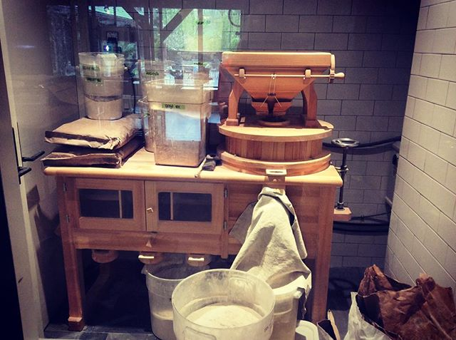 Freshly #milled #flour @bluehillmarket #bakery 100% #wholegrain #sourdough #bread. So darn #delicious :) #food #farming #grain #baking #baker #mill