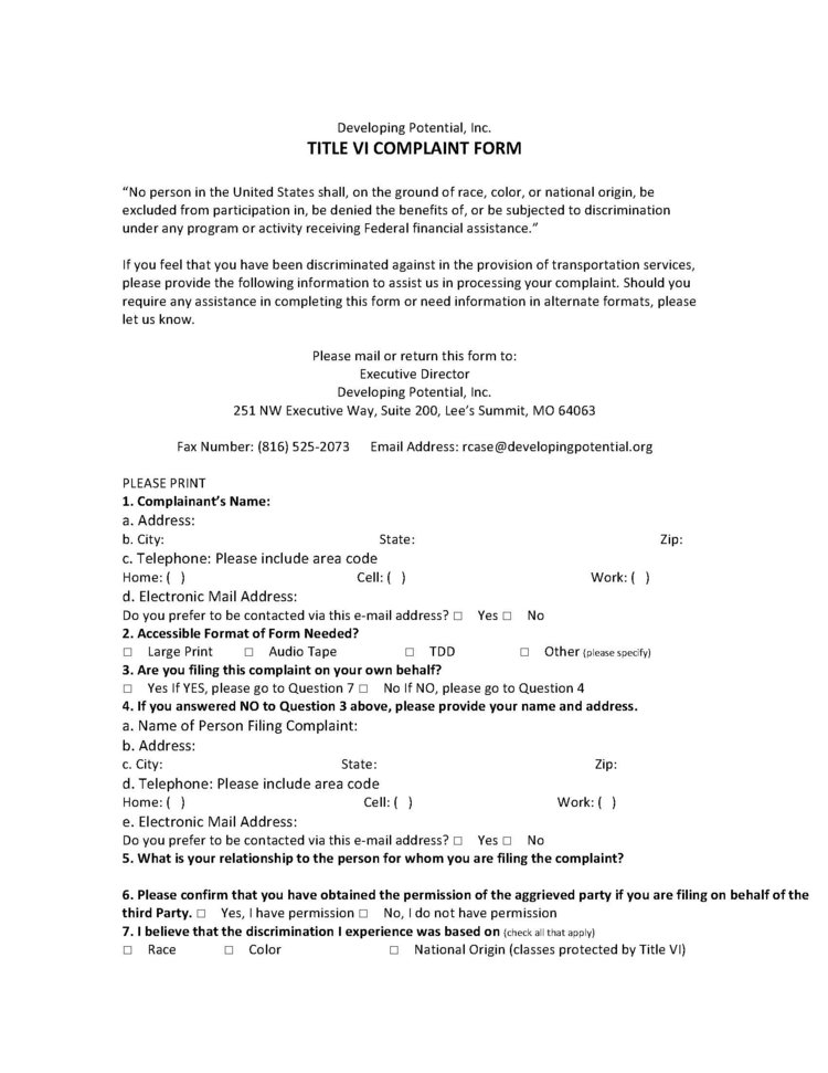 Title Vi Notification  Complaint Form  Developing Potential