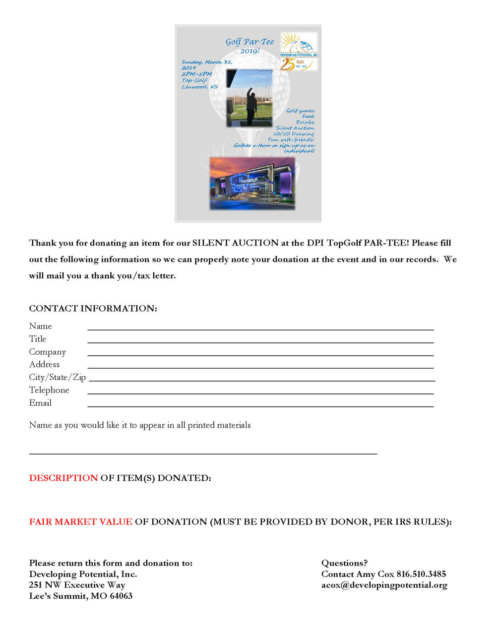 DOWNLOAD SILENT AUCTION FORM