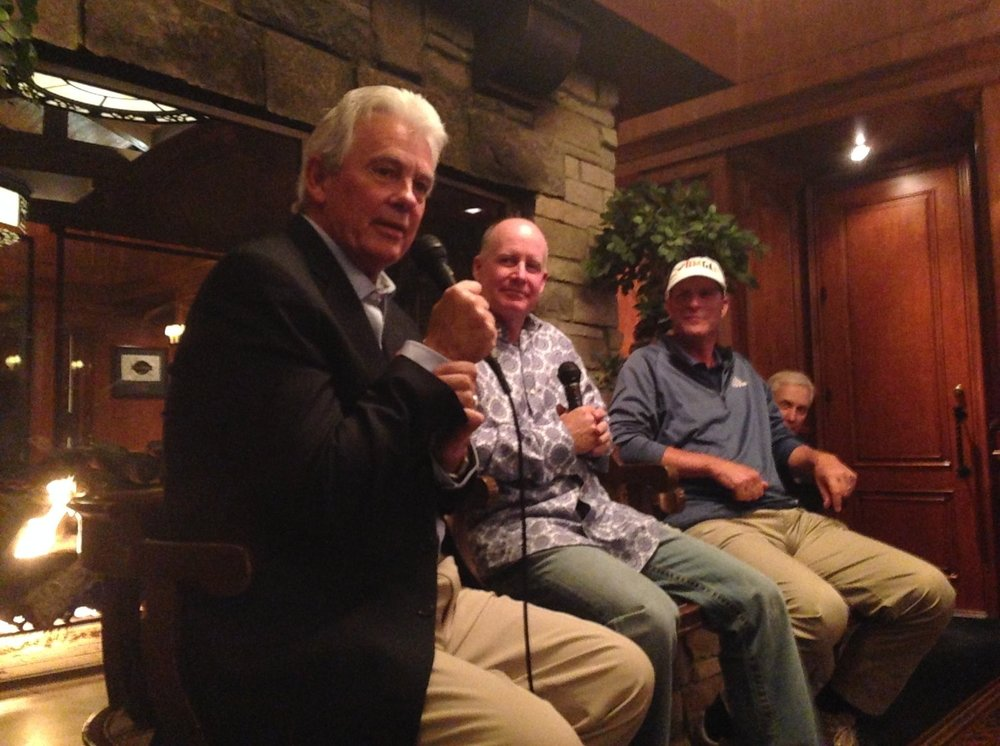 Emcee & Author Jack Sheehan (left), PGA Championship Runner-up Bob May, and 20+ year PGATour member Jeff Gallagher during a Q&A.