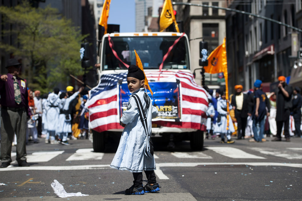 A Sikh boy marches in the annual Sikh Day Parade in New York.