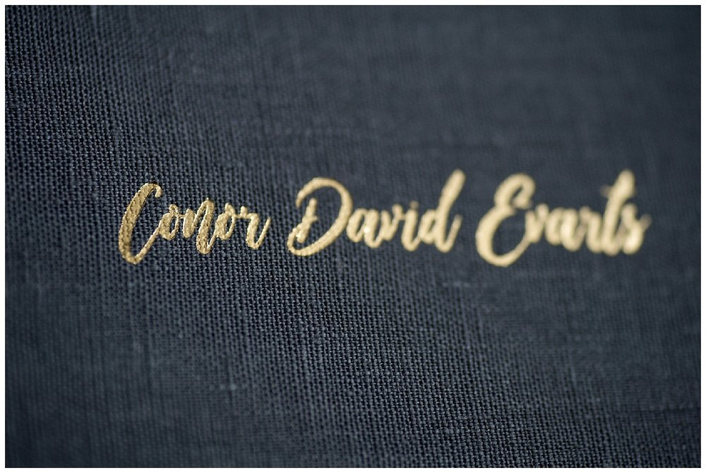 Close up of the gold embossing