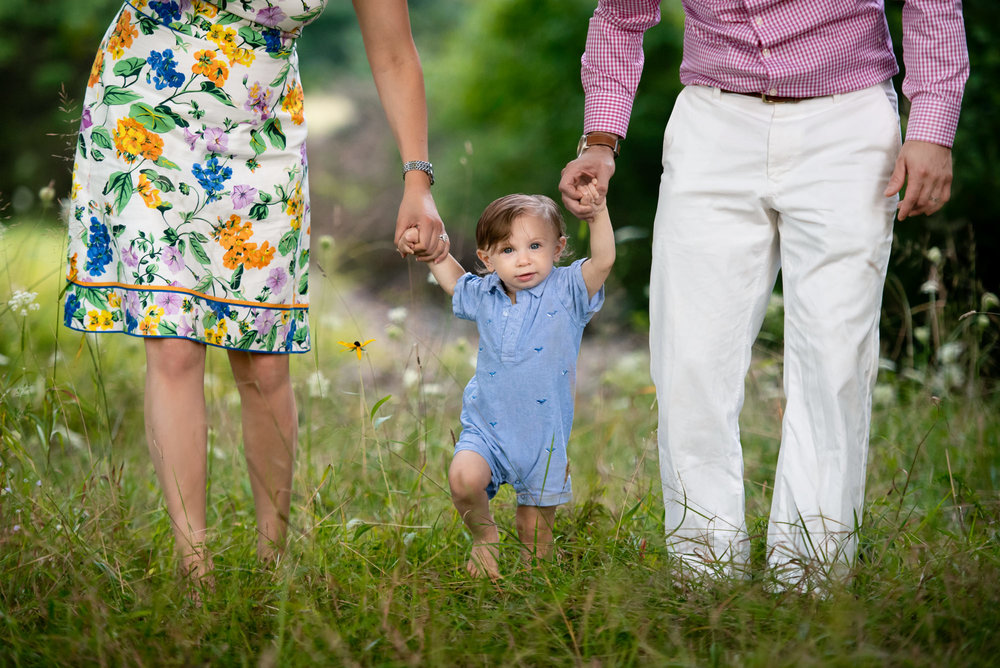 one year old boy in blue walking in a flower field with his parents at his one year photoshoot