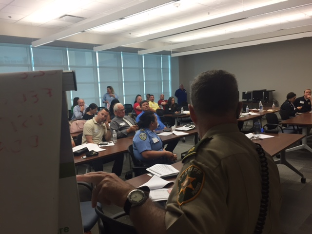 law enforcement partners attend a training on human trafficking.